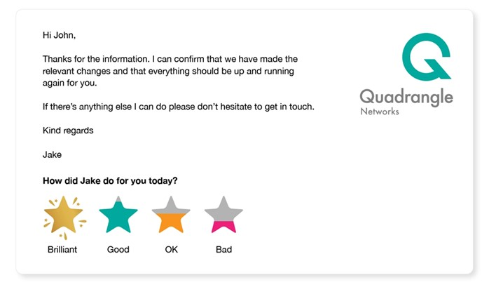 A professional email signature with 1-click feedback survey