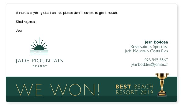 A professional email signature example promoting an award win