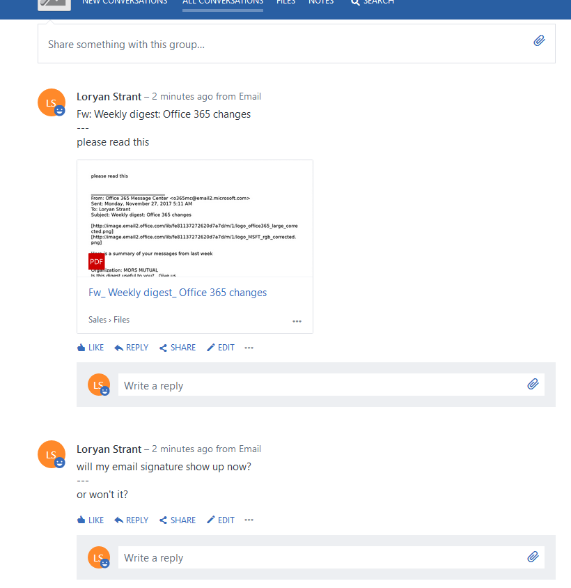 Cleaner email signatures in Yammer