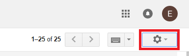 Gear icon in Gmail