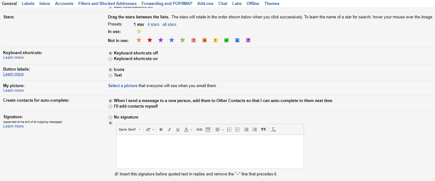 The Gmail signature editor.