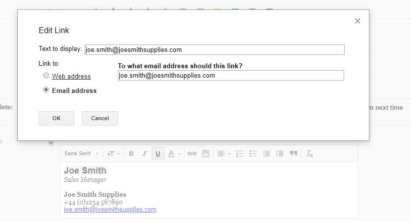Hyperlinking an email address.