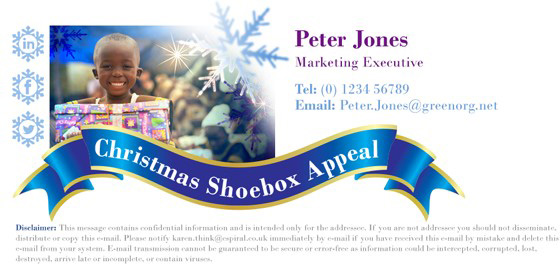 Christmas email signature template focusing on charity
