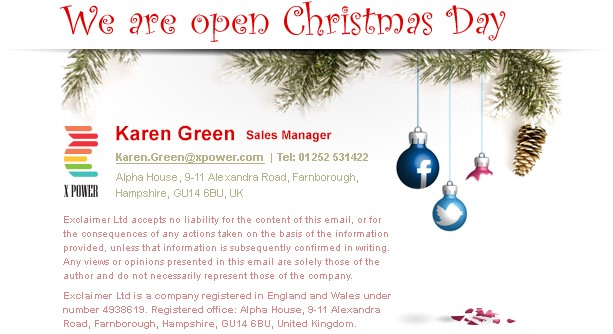 Christmas email signature template - social media baubles