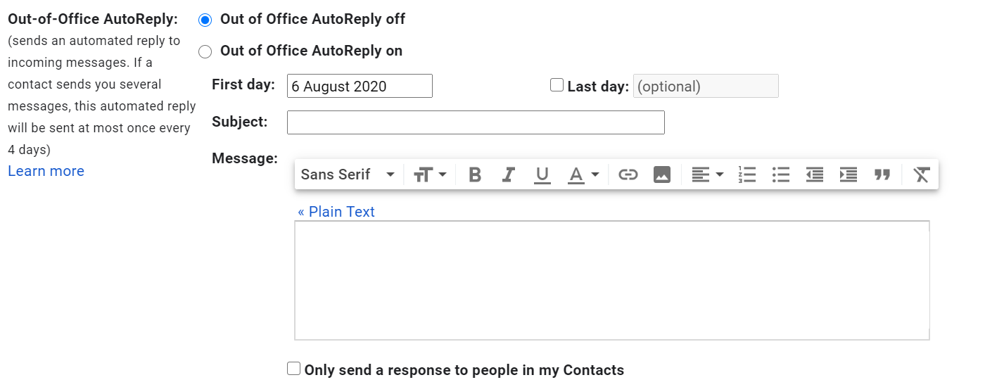 Setting an out of office reply in Gmail