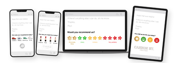1-click email signature surveys on different devices.