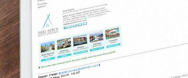 An example of an email signature template using images to enhance its message.