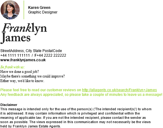 An example of an email signature template used by a customer services department.