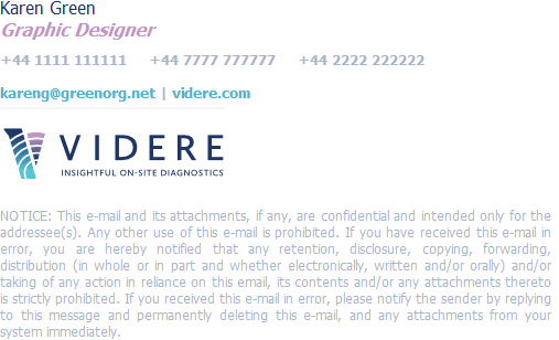 An example of email signature templates using a detailed email disclaimer.
