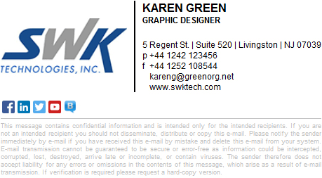 Email signature design with a lot of social media links.