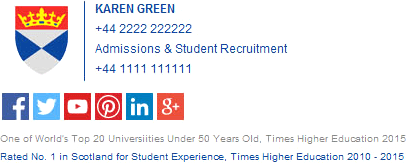 University email signature with colorful social media icons.