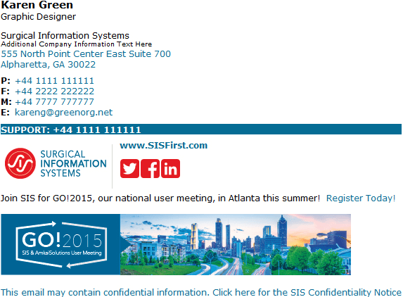 An email signature example asking recipients to register for an event.