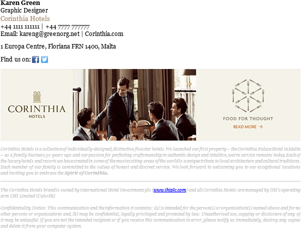 This email signature example uses a banner as part of the hotel's branding.