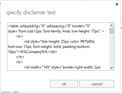 Enter the plain text or HTML code of your Microsoft 365 (formerly Office 365) email signature.