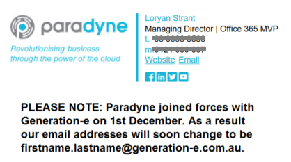 Exclaimer Cloud - Signatures for Office 365 being used for the new email signature.