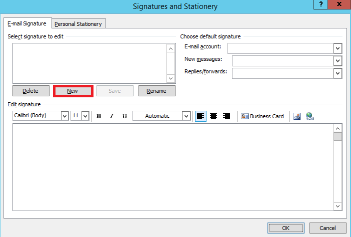 Click 'New' to start your Outlook 2007 signature.