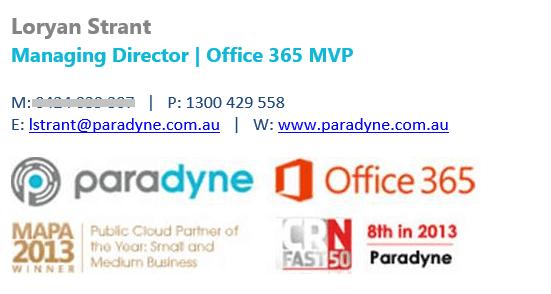The original Paradyne email signature design.