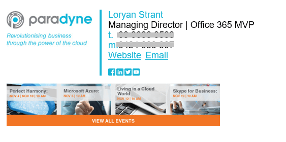 The new email signature design created using Signatures for Office 365.