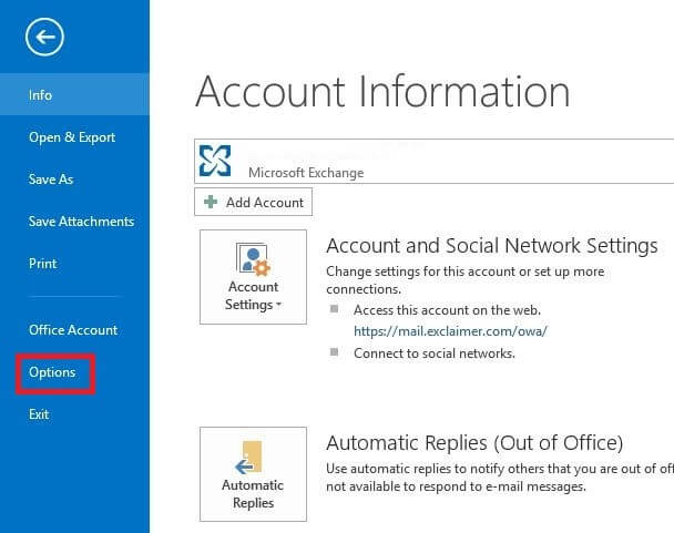 Click the Options tab in Outlook 2016 or Outlook 2019.