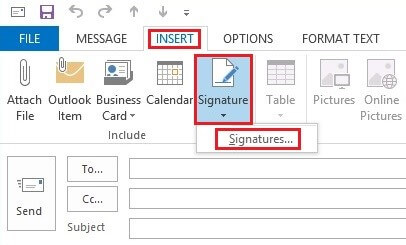 Open up a new Outlook email to create a new signature.