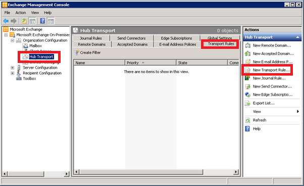 Select 'Transport Rule' to start creating your Exchange 2007 signature.