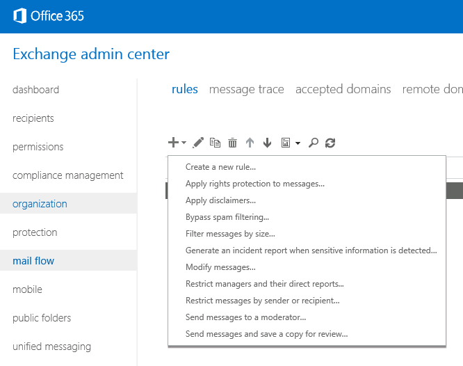Transport Rules in Microsoft 365 (formerly Office 365)