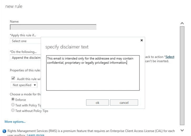 Using the Microsoft 365 (formerly Office 365) disclaimer feature to specify your email disclaimer text.