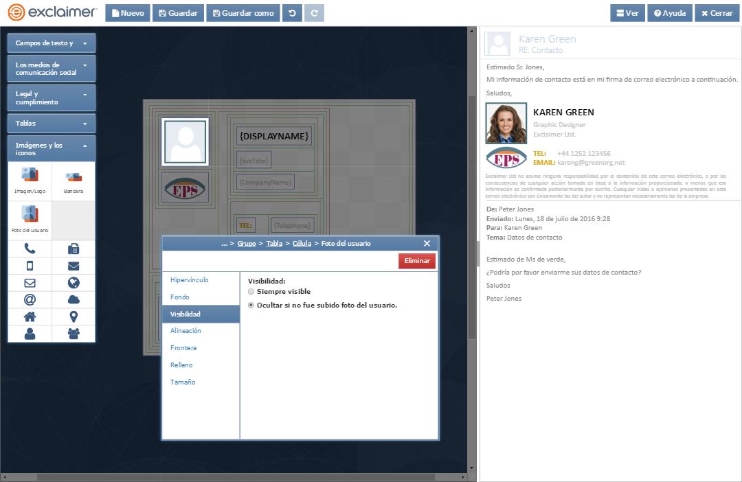 Añada fácilmente imágenes a las firmas de Exchange de todos los usuarios para darle un toque más personal a las comunicaciones vía correo electrónico.