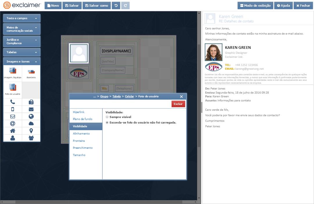 Adicione facilmente imagens fotográficas às assinaturas do Exchange de todos os utilizadores para dar um toque mais pessoal às comunicações por correio electrónico.