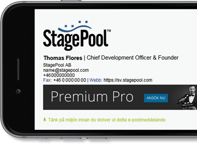 Microsoft 365 (formerly Office 365) signature with StagePool contact details and logo.