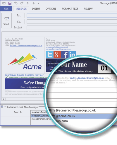 The Acme Facilities Group using Email Alias Manager for Exchange