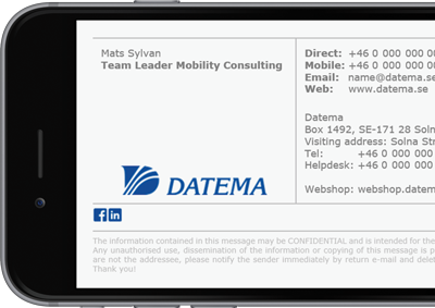 Datema Microsoft 365 (formerly Office 365) signature with full contact details.
