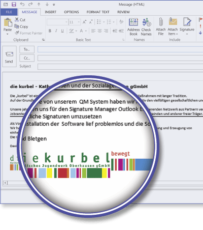 die Kurbel using Signature Manager Outlook Edition