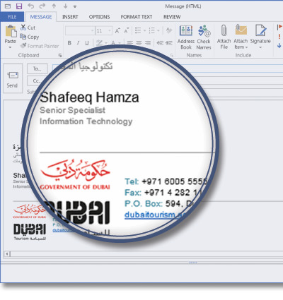 Dubai's Department of Tourism and Commerce Marketing (DTCM) using Signature Manager Exchange Edition