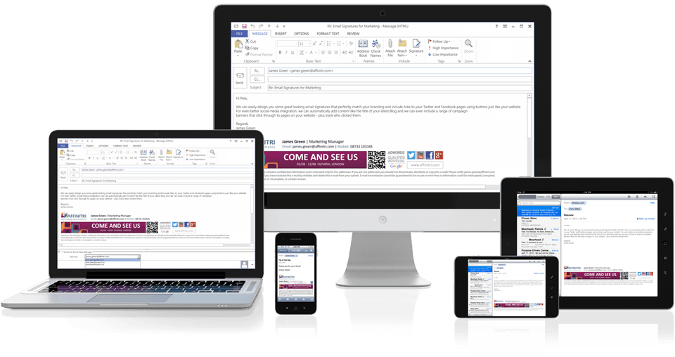 Professional Exchange signatures on all devices from PCs to mobiles.
