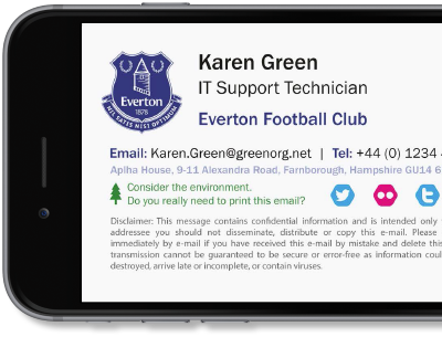 Exclaimer Cloud - Signatures for Office 365 manages Microsoft 365 (formerly Office 365) signatures for Everton F.C.