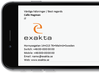 Exakta uses Exclaimer Cloud - Signatures Office 365 for its Microsoft 365 (formerly Office 365) signatures.