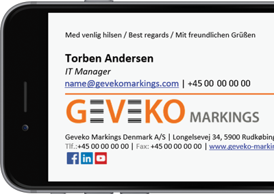 Office 365 email signature with Geveko Markings details.