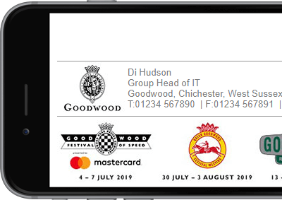 The Goodwood Estate Company signature with full contact details.