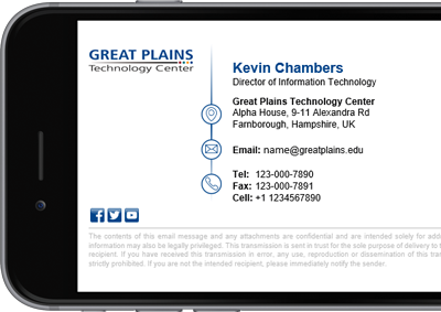 Great Plains Technology Centers Microsoft 365 (formerly Office 365) signature with full contact details.