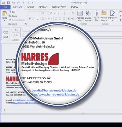HARRES Metall-design using Signature Manager Exchange Edition