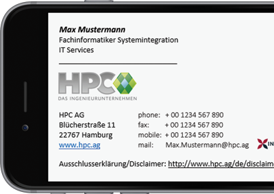 Exclaimer Cloud Signatures for Office 365 was used for HPC AG's Office 365 signatures.