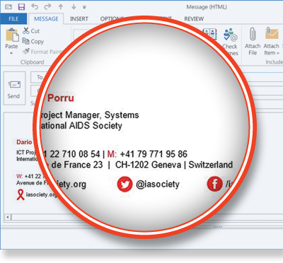 International AIDS Society using Exclaimer Cloud: Signatures for Office 365