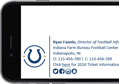 Indianapolis Colts Microsoft 365 (formerly Office 365) signature with full contact details.