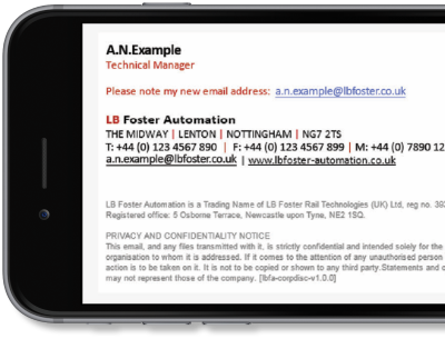 Exclaimer Cloud - Signatures for Office 365 was used L.B. Foster Automation's Microsoft 365 (formerly Office 365) signatures.