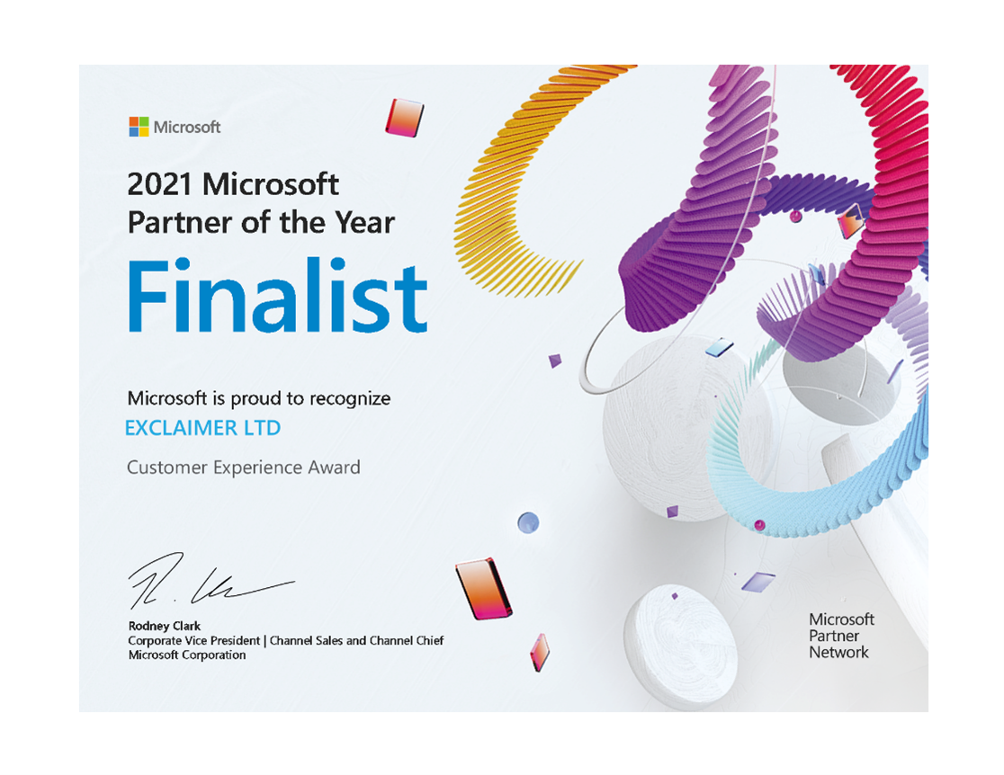 Exclaimer named as 2021 Microsoft Partner of the Year Finalist in Customer Experience