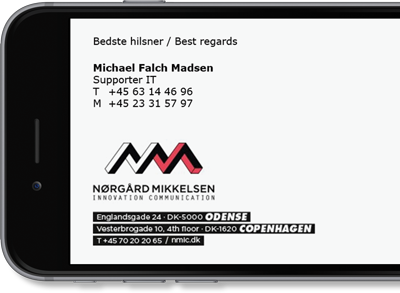Nørgård Mikkelsen uses Exclaimer Cloud - Signatures Office 365 for its Microsoft 365 (formerly Office 365) signatures.