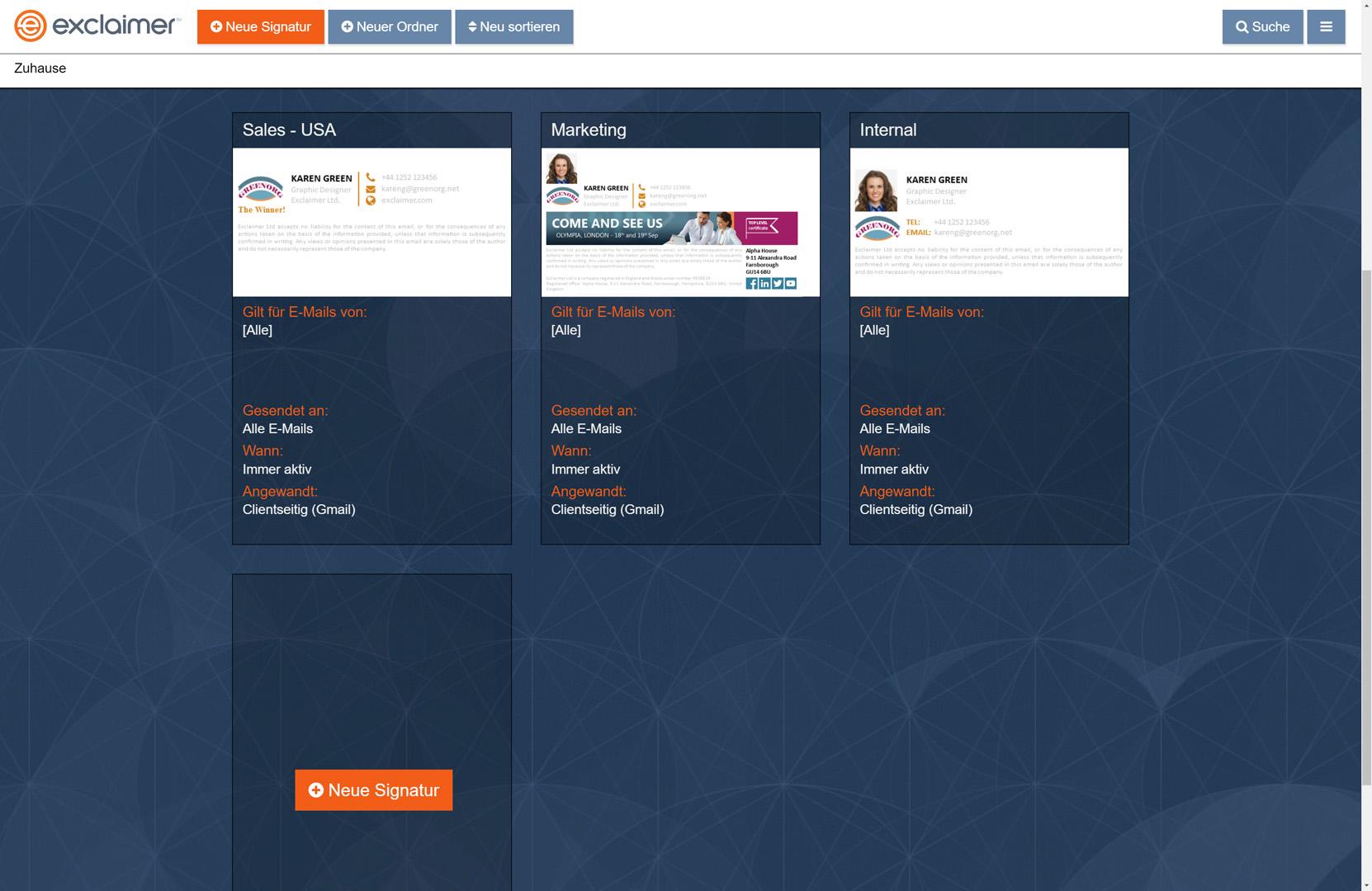 Erstellen und verwalten Sie alle G Suite-E-Mail-Signaturen über ein benutzerfreundliches Webportal.