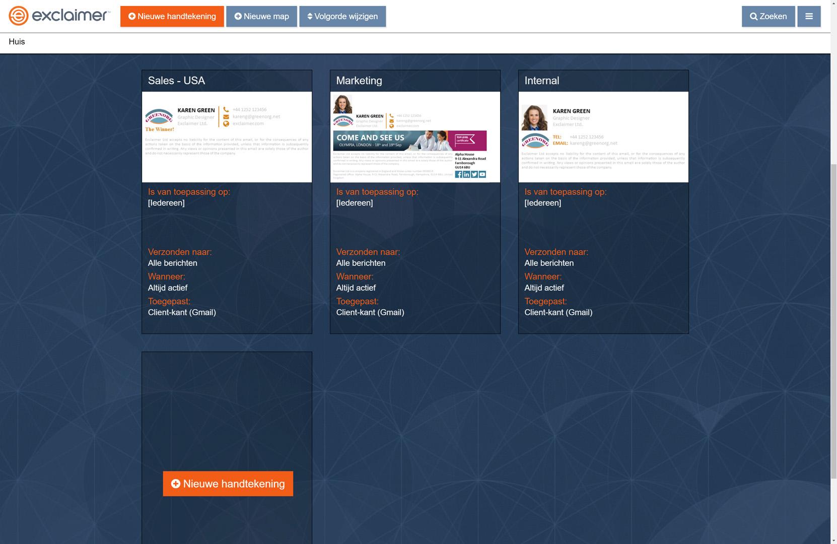 Ontwerp en beheer de e-mailhandtekeningen voor alle G Suite-gebruikers via een gebruiksvriendelijk webportal.