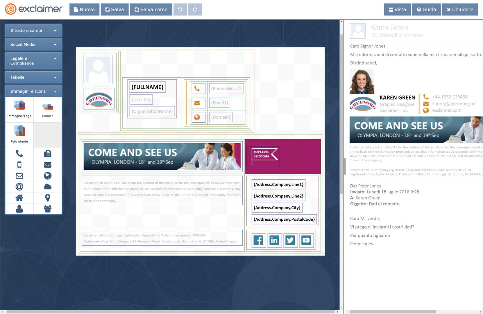 Aggiungi elementi dinamici alla tua firma e-mail G Suite.